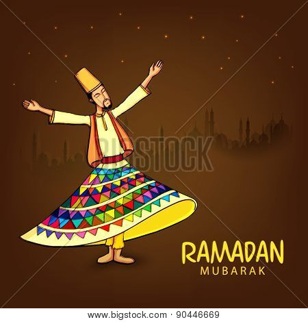 Whirling dervish performing religious dance on mosque silhouetted background for holy month of prayers Ramadan Kareem celebrations.