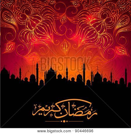 Arabic Islamic calligraphy of golden text Ramadan Mubarak in mosque silhouetted night background with fireworks.