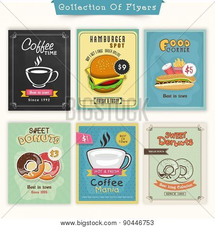 Vintage Food and Drinks flyer collection for Cafe, Fast Food Restaurant and Bakery Shop.