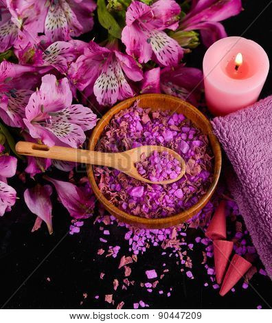 Spa background-orchid, candle, salt in bowl