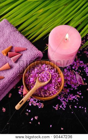 Spa background-palm, candle, salt in bowl