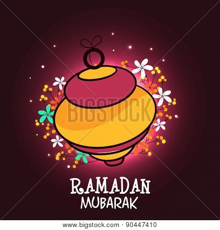 Beautiful arabic lantern on floral decorated background for Islamic holy month of prayers, Ramadan Mubarak celebrations.