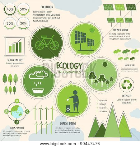Big set of Infographic elements including statistical graphs, bars and charts based on Ecology concept.