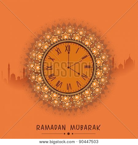 Beautiful clock indicating time for prayers, on mosque silhouetted orange background for holy month of prayers Ramadan Mubarak celebrations.