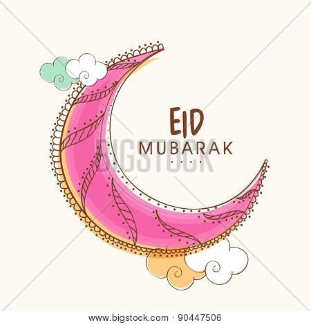 Creative floral design decorated crescent moon with clouds for Muslim community festival, Eid celebration.