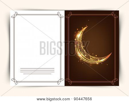 Golden floral crescent moon decorated greeting card for Muslim community festival, Eid celebration.