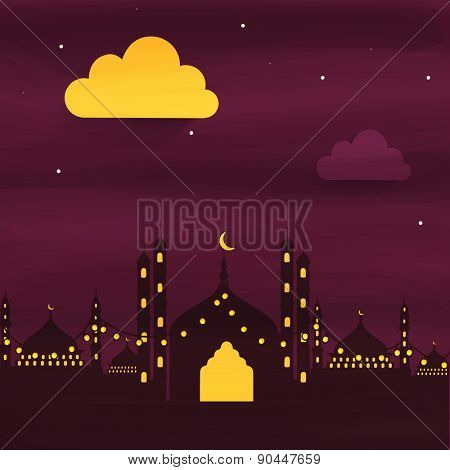 Beautiful view of a mosque with decorative lights in night view for Islamic holy month of prayers, Ramadan Kareem celebrations.