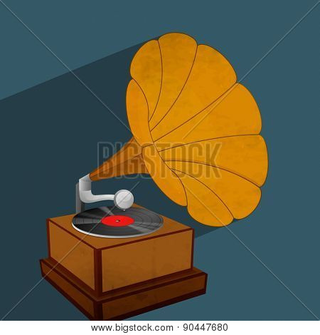 Vintage Gramophone with vinyl isolated on blue background.