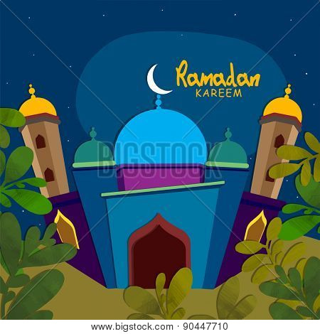 View of a beautiful mosque in blue night background for Islamic holy month of prayers Ramadan Kareem celebrations.