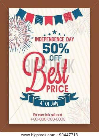 4th of July, American Independence Day flyer or banner design with 50% discount offer.