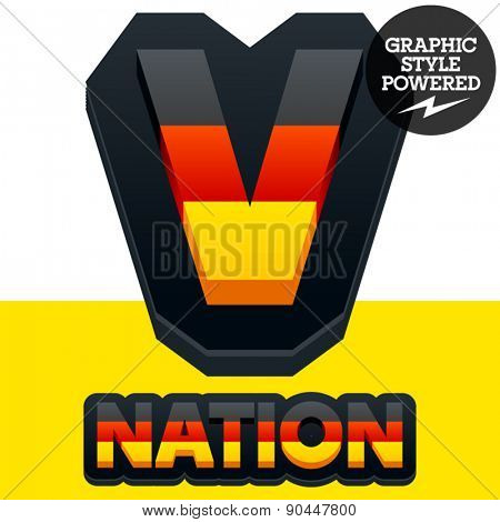 Vector set of Germany flag 3D alphabet. Letter  V