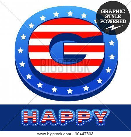 Vector set of american flag stripes and stars alphabet. Letter G