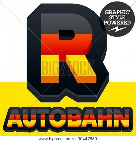 Vector set of Germany flag 3D alphabet. Letter  R
