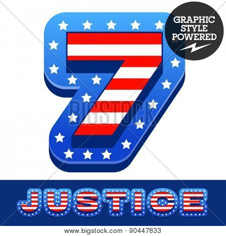 Vector set of american flag stripes and stars alphabet. Number 7