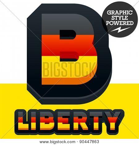 Vector set of american flag stripes and stars alphabet. Letter B