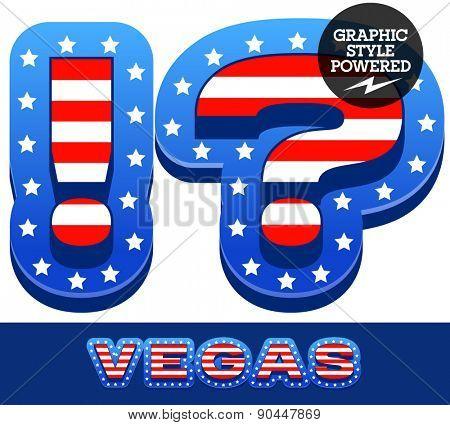 Vector set of american flag stripes and stars alphabet. Symbols