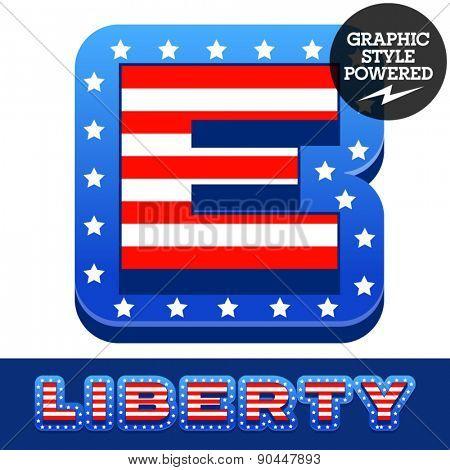 Vector set of american flag stripes and stars alphabet. Letter E