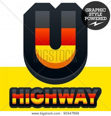 Vector set of Germany flag 3D alphabet. Letter  U