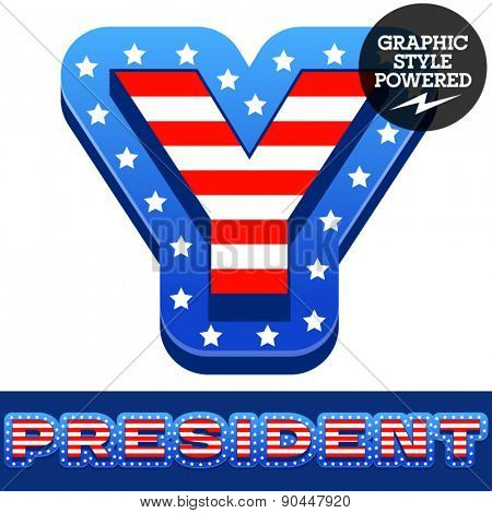 Vector set of american flag stripes and stars alphabet. Letter Y