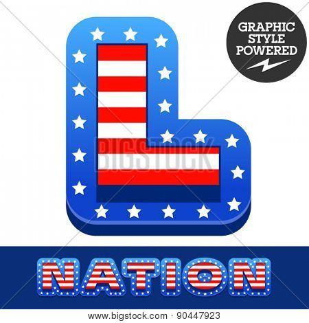 Vector set of american flag stripes and stars alphabet. Letter L
