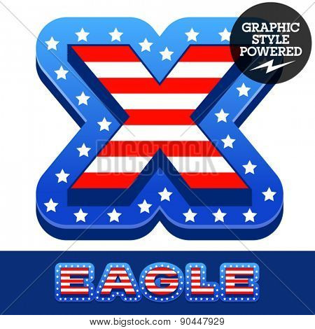 Vector set of american flag stripes and stars alphabet. Letter X