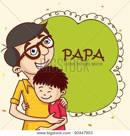 Cartoon design of a father hugging to his son on the occasion of Happy Father's Day celebrations.