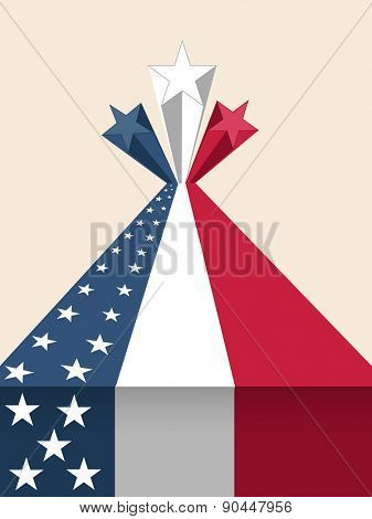 4th of July, American Independence Day celebration with creative national flag color 3D stars.