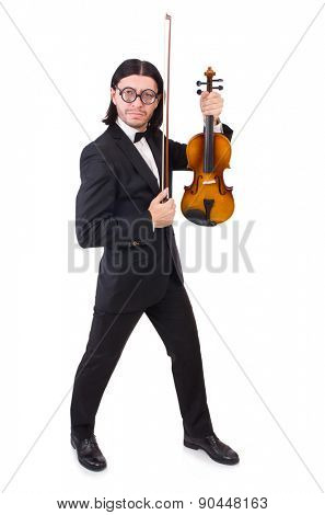 Funny man with music instrument on white