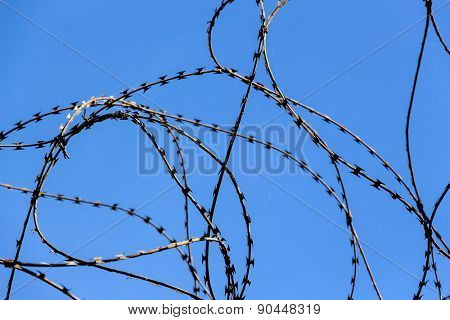 a plot of land is covered with barbed wire