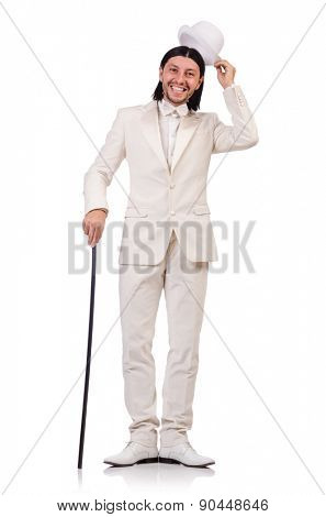 Gentleman in white suit isolated on white