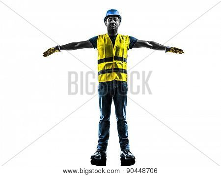 one construction worker signaling with safety vest emergency stop silhouette isolated in white background