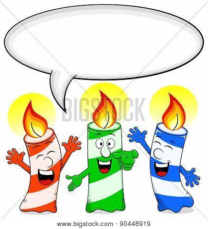 Cartoon Birthday Candles Congratulate With Speech Bubble