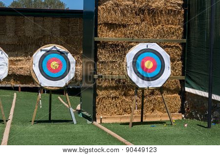 Targets for archery on green grass.