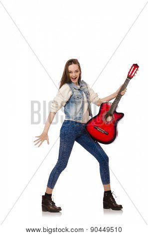 Young smiling girl with guitar isolated on white