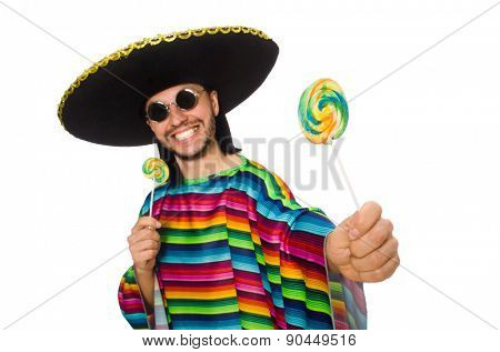 Handsome man in vivid poncho holding lollypop isolated on white