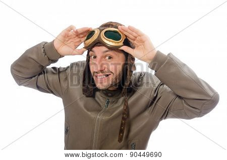 Funny pilot isolated on the white