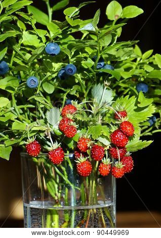 Bouquet of forest berries close up  in glass vase on black background
