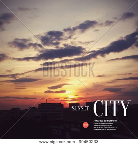 Abstract sketch stylized background. Sunset in the city
