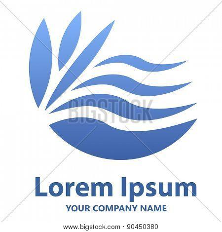 Abstract blue wavy emblem or logo design vector template.