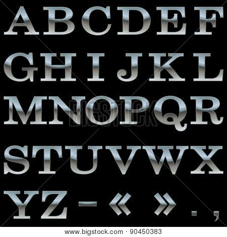 Steel alphabet vector template isolated on black background.