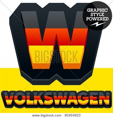 Vector set of Germany flag 3D alphabet. Letter  W