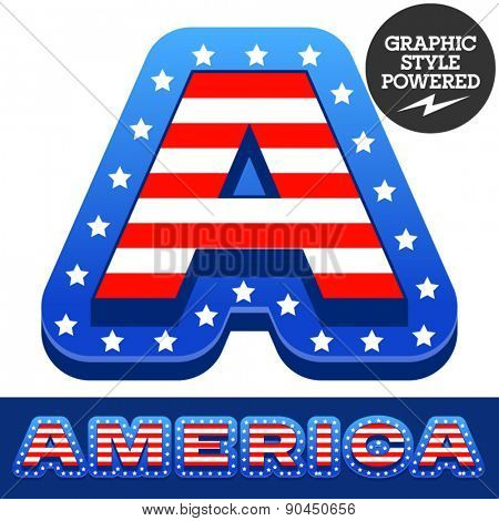 Vector set of american flag stripes and stars alphabet. Letter A