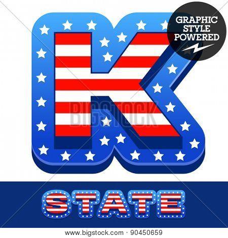 Vector set of american flag stripes and stars alphabet. Letter K
