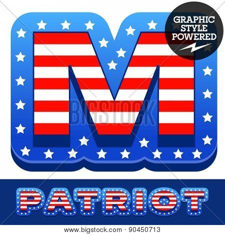 Vector set of american flag stripes and stars alphabet. Letter M