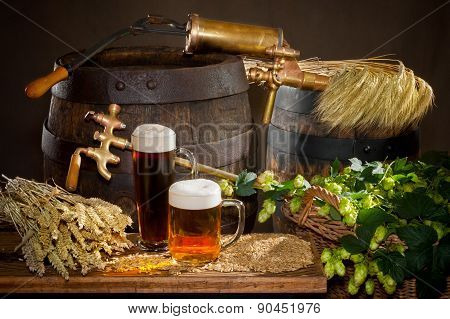 Beer With Raw Material For Beer Production