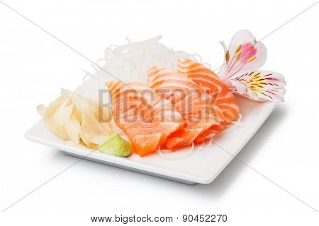 Salmon sashimi with withe plate isolated on white background