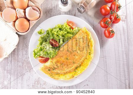 omelet and ingredients