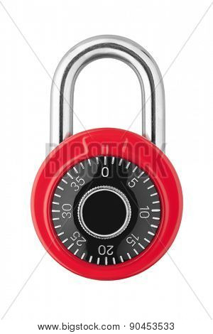 Combination lock isolated on white background