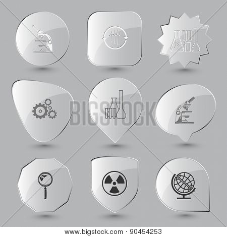 Science set. Raster glass buttons.
