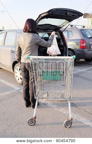 Supermarket's trolley stands near the car
